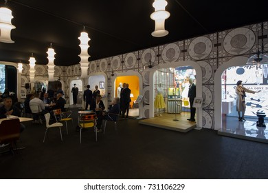 BOLOGNA, ITALY - SEP 27, 2017: Milleluci exibit during Cersaie 2017, international Exhibition of Ceramic Tile and Bathroom Furnishings