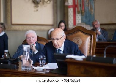 BOLOGNA, ITALY. SEPTEMBER 07. The Former President of Italian Republic Giorgio Napolitano during city council on September 07, 2015 in Bologna, Italy
