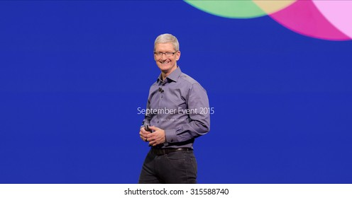 Bologna, Italy - September 10, 2015: Apple CEO Tim Cook. Screen appeared on the website of Apple after the keynote.