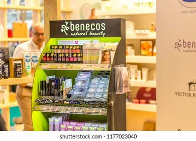 BOLOGNA (ITALY), SEPTEMBER 10, 2018: man s visiting a stand at SANA, international exhibition of organic and natural products
