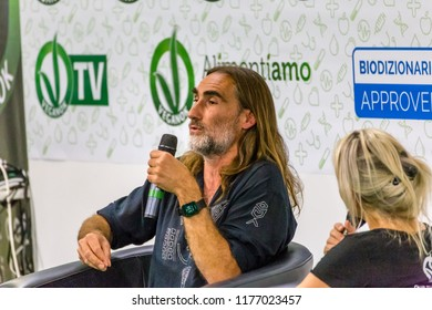BOLOGNA (ITALY), SEPTEMBER 10, 2018: writer Folco Terzani interviewed by Renata Balducci president of Italian Vegans at VEGANFEST at SANA, international exhibition of organic and natural products