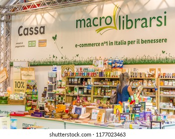 BOLOGNA (ITALY), SEPTEMBER 10, 2018: woman is visiting a stand at SANA, international exhibition of organic and natural products