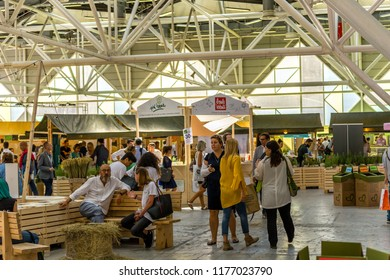BOLOGNA (ITALY), SEPTEMBER 10, 2018: visitors eating and resting at SANA, international exhibition of organic and natural products