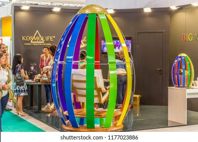 BOLOGNA (ITALY), SEPTEMBER 10, 2018:  Visitors are visiting a stand and asking exhibitor about the products at SANA, international exhibition of organic and natural products