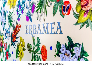 BOLOGNA (ITALY), SEPTEMBER 10, 2018: light enlightening board with logo of ERBAMEA at SANA, international exhibition of organic and natural products