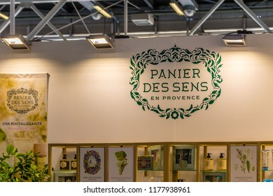 BOLOGNA (ITALY), SEPTEMBER 10, 2018: light enlightening board with logo of PANIER DES SENS EN PROVENCE at SANA, international exhibition of organic and natural products