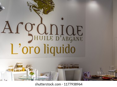 BOLOGNA (ITALY), SEPTEMBER 10, 2018: light enlightening board with logo of ARGANIAE HUILE D'ARGANE at SANA, international exhibition of organic and natural products