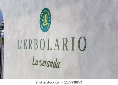 BOLOGNA (ITALY), SEPTEMBER 10, 2018: light enlightening board with logo of L'ERBOLARIO at SANA, international exhibition of organic and natural products