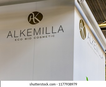 BOLOGNA (ITALY), SEPTEMBER 10, 2018: light enlightening board with logo of ALKEMILLA ECO BIO COSMETIC at SANA, international exhibition of organic and natural products