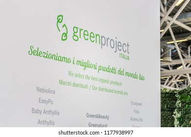 BOLOGNA (ITALY), SEPTEMBER 10, 2018: light enlightening board with logo of GREENPROJECT at SANA, international exhibition of organic and natural products