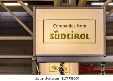 BOLOGNA (ITALY), SEPTEMBER 10, 2018: light enlightening board with logo of SUDTIROL companies at SANA, international exhibition of organic and natural products