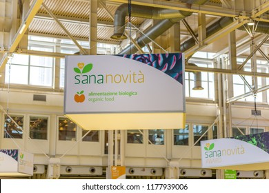 BOLOGNA (ITALY), SEPTEMBER 10, 2018: light enlightening board with logo of SANAnovita' at SANA, international exhibition of organic and natural products
