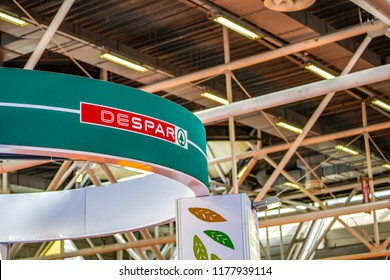 BOLOGNA (ITALY), SEPTEMBER 10, 2018: light enlightening board with logo of DESPAR at SANA, international exhibition of organic and natural products