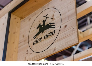 BOLOGNA (ITALY), SEPTEMBER 10, 2018: light enlightening board with logo of ALCE NERO at SANA, international exhibition of organic and natural products