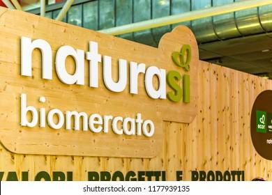 BOLOGNA (ITALY), SEPTEMBER 10, 2018: light enlightening board with logo of NATURASI BIOMERCATO at SANA, international exhibition of organic and natural products