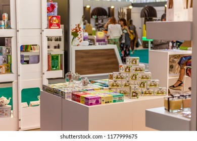 BOLOGNA (ITALY), SEPTEMBER 10, 2018: lights enlightening products at SANA, international exhibition of organic and natural products
