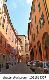 Bologna, Italy - September 12, 2016. Narrow historical streets of Bologna