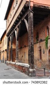 BOLOGNA, ITALY - September 12, 2017. Timber suppports, Palazzo Grassi, Via Marsala, Bologna, Italy