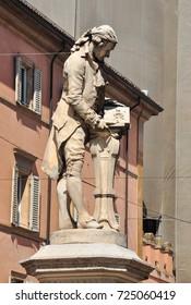 BOLOGNA, ITALY - September 14, 2017. Statue of Luigi Galvani in Piazza Galvani, Bologna, Italy