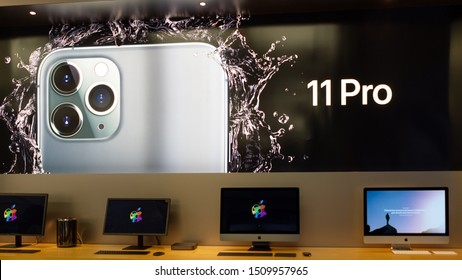 BOLOGNA, ITALY - SEPTEMBER 20, 2019: The new iPhone 11 Pro adv inside Apple Store.