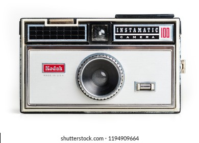 BOLOGNA, ITALY - SEPTEMBER, 2018: Kodak Instamatic 100 vintage camera isolated on white background. Illustrative editorial.