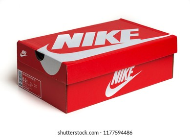 BOLOGNA, ITALY - SEPTEMBER, 2018: Nike shoes box isolated on white background. Nike is one of the world's largest suppliers of athletic shoes. The company was founded in 1964. Illustrative editorial.