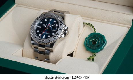 BOLOGNA, ITALY - SEPTEMBER, 2018: Rolex Oyster Perpetual Date Yacht Master watch and box. Rolex SA is a Swiss luxury watchmaker, founded in London, England in 1905. Illustrative editorial.