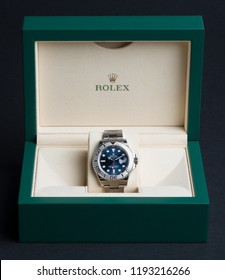 BOLOGNA, ITALY - SEPTEMBER, 2018: Rolex Oyster Perpetual Date Yacht Master watch inside box. Rolex SA is a Swiss luxury watchmaker, founded in London, England in 1905. Illustrative editorial.