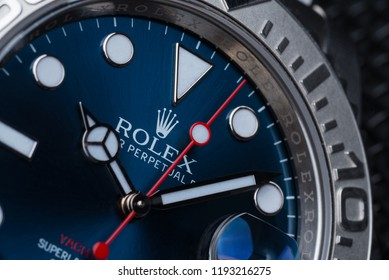 BOLOGNA, ITALY - SEPTEMBER, 2018: Rolex Oyster Perpetual Date Yacht Master watch close up. Rolex SA is a Swiss luxury watchmaker, founded in London, England in 1905. Illustrative editorial.