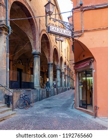 Bologna, Italy - September 21, 2018: Shoe repairer in medieval center of Bologna