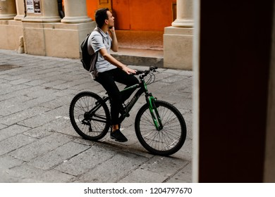 BOLOGNA / ITALY - SEPTEMBER 21 2018: Bologna citizens bicyclists