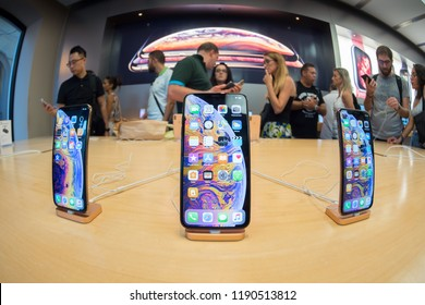 Bologna, Italy - September 23, 2018: iPhone Xs Max on display at the Apple Store in Bologna.