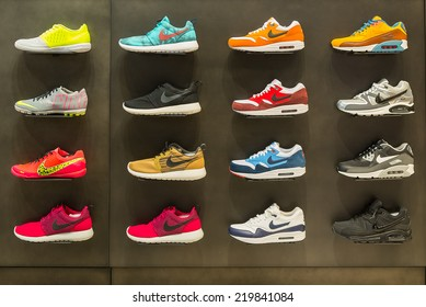 BOLOGNA, ITALY - SEPTEMBER 26 2014: Exposition of nike sport shoes. Nike is one of the world's largest suppliers of athletic shoes and apparel. The company was founded on January 25, 1964.