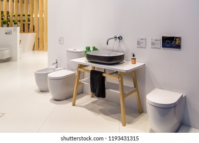 BOLOGNA (ITALY), SEPTEMBER 28, 2018: light is enlightening luxurios sanitary ware from SANINDUSA at CERSAIE, international exhibition of ceramic tile and bathroom furnishings