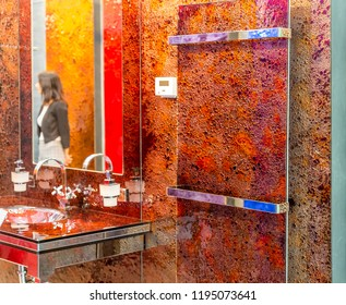 BOLOGNA (ITALY), SEPTEMBER 28, 2018: light is enlightening luxurious sanitary ware at CERSAIE, international exhibition of ceramic tile and bathroom furnishings