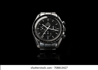 BOLOGNA, ITALY - SEPTEMBER 4th, 2017: Omega Speedmaster Professional watch. Omega has been creating watches since the 19th century and was the first watch on the Moon. Illustrative editorial.
