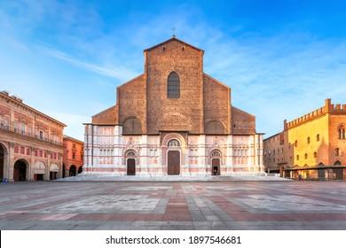 Bologna, Italy. View of Basilica di San Petronio on sunrise