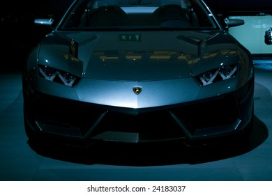 BOLOGNA, ITALY,15 DECEMBER:front View Of A Lamborghini Gallardo At Motor  Show