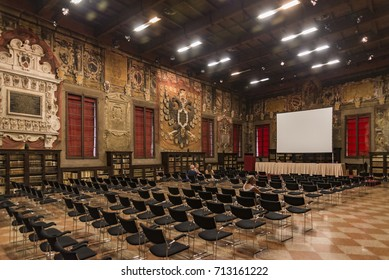 BOLOGNA - JUNE 25: Decorations on the wall and the hall in Archiginnasio library of Bologna. It is one of the most important building on June 25, 2017 in Bologna, Italy.