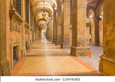 Bologna -  The porticoes of old town in the morning.