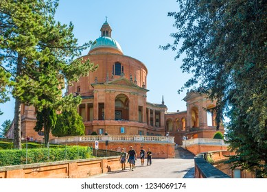 BOLOGNA,ITALY - SEPTEMBER 23,2018 - View at the Sanctuary of the Madonna di San Luca in Bologna. The Sanctuary of the Madonna of San Luca is sited atop a forested hill