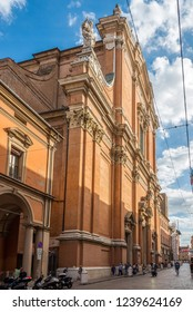BOLOGNA,ITALY - SEPTEMBER 24,2018 - Cathedral of San Pietro in the streets of Bologna. Bologna is the capital and largest city of the Emilia-Romagna Region.