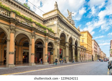 BOLOGNA,ITALY - SEPTEMBER 24,2018 - Theater Arena del Sole in the streets of Bologna. Bologna is the capital and largest city of the Emilia-Romagna Region.
