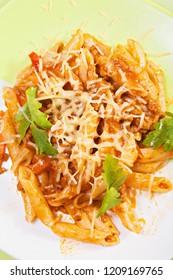Bolognese pasta. Closeup overhead vertical shot