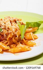 Bolognese pasta. Closeup vertical shot