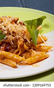 Bolognese pasta meal. Closeup vertical shot