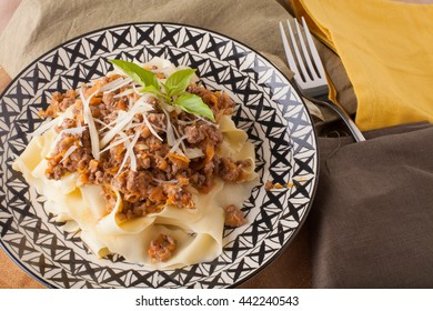 Bolognese pasta sauce beef with fresh fettuccine pasta
