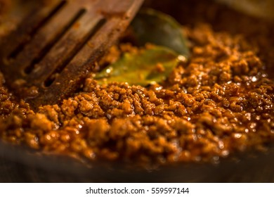 Bolognese sauce in a  pan