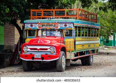 BOLOMBOLO, COLOMBIA - JUNE 2016. Colorful traditional rural bus from Colombia called chiva