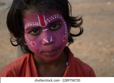 Bolpur, Santiniketan, India- February 2018: Bahurupi artists in west bengal easily metamorphose into different characters during performance by painting their face.